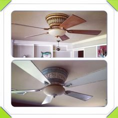 """Annie sloan chalk paint on ceiling fans... Duck egg blue over black paint... Old world white... All with dark wax """"dry-brushed"""" over unit and edges of blades after sanding. #love"""