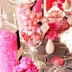 Pink Candy Bar Favors A candy bar of lollipops, rock candy and other hot-pink treats was set up for guests to enjoy at the reception or take home. Pink Candy Table, Pink Treats, Bar A Bonbon, Rose Fuchsia, Candy Wedding Favors, Cute Candy, Our Wedding, Wedding Ideas, Wedding Reception