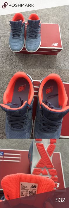New Balance Sneaker Barely worn New Balance running shoes. Light grey and an orange/pink accent color. No box, the box shown is not for these shoes. New Balance Shoes Sneakers