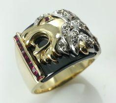Men's 14K Gold Roaring Lion / Panther Ring. Solid 14k gold ring. #lionring #ring #jewelry