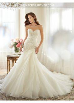 1e834fb1311 Strapless Sweetheart Layers Organza Skrit Wedding Dress. Wedding Dress  TrumpetDrop Waist ...