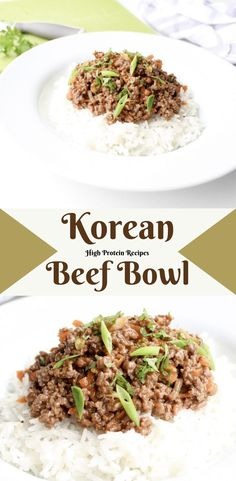 This is probably one of the easiest beef recipes, if not THE easiest recipe you're likely to make. Super-quick and simple yet it tastes delicious. Korean Beef Recipes, Minced Beef Recipes, Korean Beef Bowl, Mince Recipes, High Protein Recipes, Protein Foods, Healthy Recipes, Mince Dishes, Bowls