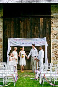 rainbow themed wedding ceremony