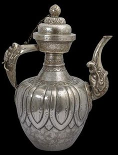 Michael Backman Ltd - finely engraved silver and copper tea pot 19th century