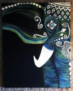 Navy Blue Bohemian Elephant by GypsyTwistArt on Etsy