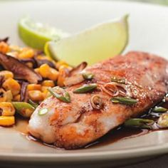 Five-Spice Tilapia {part of the 3 step dinners}     Nutrition    Per serving: 180 calories; 6 g fat ( 1 g sat , 3 g mono ); 57 mg cholesterol; 9 g carbohydrates; 9 g added sugars; 24 g protein; 0 g fiber; 596 mg sodium; 411 mg potassium.