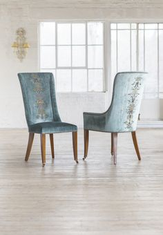 Our Kingsley dining chairs covered in Como silk velvet - teal and shown with Zola embroidery.