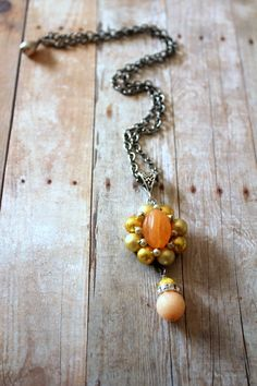 Peach Yellow Necklace Granny Chic Pantone Custard by @belmonili