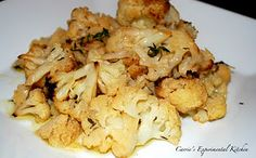 Various recipes from Carrie's Experimental Chicken, including roasted cauliflower