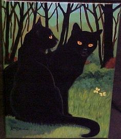 """A Walk in the Woods"" par Rosemary Margaret Daunis I Love Cats, Crazy Cats, Cool Cats, Black Cat Art, Black Kitty, Black Cats, Cats And Kittens, Kitty Cats, Siamese Cats"