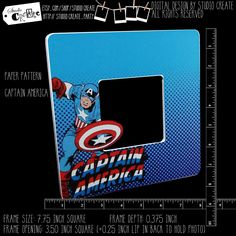 photo frame - captain america by studioCREATE on Etsy Altered Composition Books, Photo Cutout, Pattern Paper, Painting Frames, Paper Design, Scrapbook Paper, Captain America, Overlays, Paper Crafts
