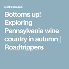Bottoms up! Exploring Pennsylvania wine country in autumn | Roadtrippers