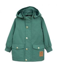 Green Pico jacket in recycled polyester and organic cotton by Mini Rodini. Rodin, Polyester Satin, Puffer Jackets, Baby Jackets, Kids Boys, Organic Cotton, Zip Ups, Cancer, Barn