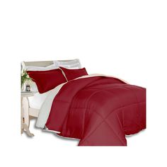 Kathy Ireland 3-piece Microfiber & Sherpa Down Alternative Comforter Set, Red