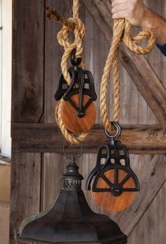 S/2 ANTIQUE REPRODUCTION PULLEYS Wood Cast Iron HANGING Vintage INDUSTRIAL Decor
