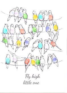 baby shower keepsake art birds on a wire/line by mylovebubble