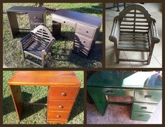 2 old desks and a weathered bench are updated with a shiny and metallic paint from Martha Stewart.  #upcycle #recycle From Vintage Paints in Orlando, FL.