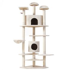 This 6ft condo gives your cat 6 different levels to scratch, play, and sleep in…
