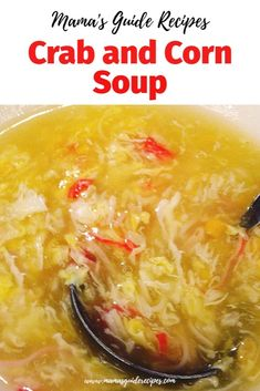 This soup is a Filipino comfort food. Homemade and delicious. Home away from home kind of feeling. Corn Soup Recipes, Crab Recipes, Yummy Chicken Recipes, Crab And Corn Soup, Crab Soup, Filipino Soup Recipes, Asian Recipes, Filipino Food, Chinese Soup Recipes