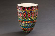 Multicolored Tall Vase by Jean Elton: Ceramic Vase available at…