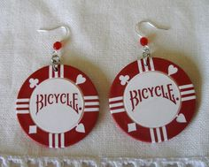 Unique Novelty Handcrafted Bicycle Poker Chip Earrings by Audi $9.99