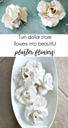 Make Beautiful and Easy Plaster Flowers with Dollar Store Flowers #DIYHomeDecorDollarStore