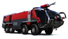 Rosenbauer Panther. A beautiful fire fire truck built for use at/near  airports. It's considered an ARFF (Aircraft Rescue and Fire Fighting) truck. Looks futuristic, robotic and amazing!