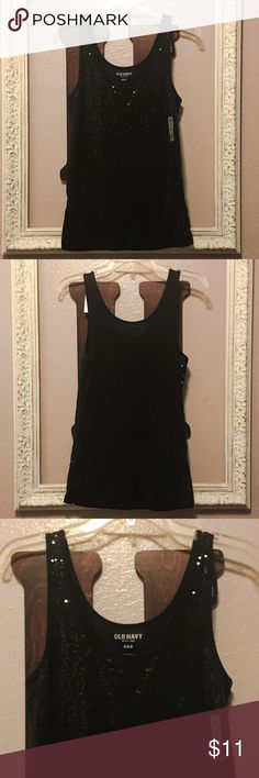 💥Final Price💥NWT Old Navy Black Sequin Tank NWT Old Navy Black Sequin Tank. Brand new. No rips, stains or holes. Smoke free home. Material content pictured. Sequined front with plain back. Size medium. Old Navy Tops Tank Tops