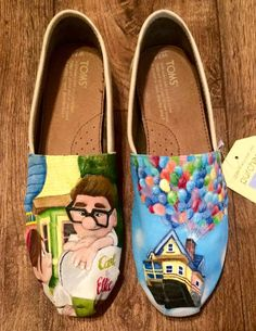 Custom Hand Painted Shoes Disney Pixar Up by FancyFeetArt on Etsy Disney Painted Shoes, Painted Canvas Shoes, Hand Painted Shoes, Disney Pixar Up, Disney Toms, Disney Outfits, Disney Bound, Disney Clothes, Up The Movie