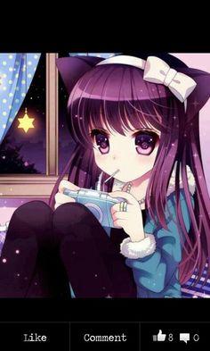 Cute anime gamer girl