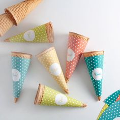 Free printable template to makes these easy and adorable Yum! ice cream cone wrappers!