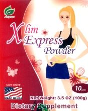 Xlim Express Powder (Made In USA). A Powerful Blend of L-carnitine, Natural Chinese Hawthorn Extract, Indian Bread and Lotus Leaf. L-carnitine helps promote healthy fatty acid metabolism function. Rich in special fruit essences and herbal polysaccharide to help maintain a healthy weight. A delightful tasting beverage.