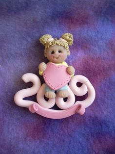 2009 personalized polymer clay Christmas ornament child by clayqts