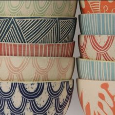 http://Dimitykidston.com Breakfast bowls . . . good sgraffito designs . . . by terrie