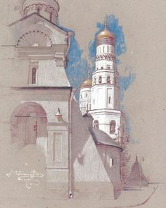 Churches and Old buildings painting by Denis Korobkov Churches and Old buildings Artwork by Denis Ko Architecture Sketchbook, Arte Sketchbook, Art And Architecture, Pastel Drawing, Pastel Art, Painting & Drawing, Buildings Artwork, Building Art, Chalk Pastels