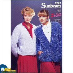 Mohair cardigan jacket knitting pattern for folies yarn Sunbeam patterns 1247 on eBid United Kingdom