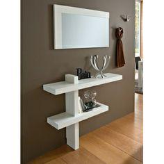 Mueble de entrada en blanco fresno poro abierto, perchero de pared modelo 2401 (código A)