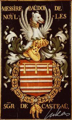 """(33) Baudoin de NOYELLES, sgr de Catheux (date?-1461) -- """"Messire Baudot de Noÿlles, sgr de Casteau"""" -- Armorial plate from the Order of the Golden Fleece, painted by Pierre Coustain, 1445, Saint Bavo Cathedral, Gent"""