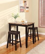3 Piece Tall Table Set Bar Home Pubs Counter Height Espresso Furniture Dining