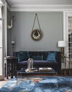 Living Room Reveal - House of Brinson nadia paint color farrow and ball light blue Living Room Interior, Living Room Furniture, Home Furniture, Living Room Decor, Furniture Dolly, Interior Design Software, Salon Interior Design, Living Pequeños, Living Area