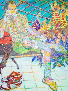 HOPE GANGLOFF Search at Suvarnabhumi Airport , 2016 Acrylic on canvas 96 x 72 in.