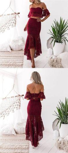 2 pieces Off Shoulder Lace Mermaid Prom Dresses, Newest Evening Dresses, PD0319 #sofitbridal #promdresses #mermaid #burgundy #lace