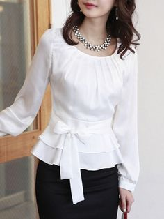 Appealing Scoop Neck Chiffon Pure Long-sleeve-t-shirt | fashionmia.com