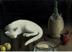 """amare-habeo: """" Ernst Maass (German, Still life with cat (Stillleben mit Katze), 1935 Oil on canvas, 51 x 70 cm """" Kitsch, Giacometti, National Cat Day, Cat Allergies, Figurative Kunst, Mean Cat, Max Ernst, All About Cats, Cat Drawing"""