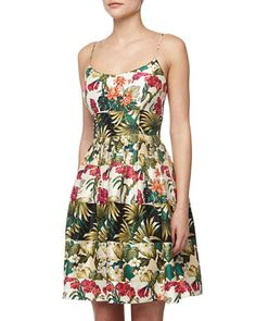 Floral Striped Fit-And-Flare Dress by Nicole Miller at Neiman Marcus Last Call.