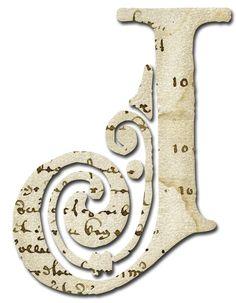 Alfabeto papel antiguo...J