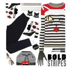 """""""Big, Bold Stripes"""" by annbaker ❤ liked on Polyvore featuring Kate Spade, Ermanno Scervino, Gucci, Yazbukey, Wolford, Betsey Johnson, GEDEBE, Burberry and BoldStripes"""