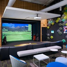 Teen Hangout Room, Home Golf Simulator, Golf Room, Golf Simulators, Golf Channel, New Golf, Types Of Rooms, Home Entertainment, Play Golf