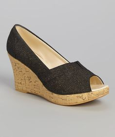 Look what I found on #zulily! Black Metallic Peep-Toe Wedge #zulilyfinds
