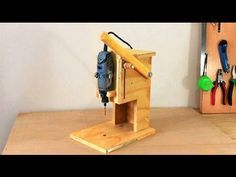 Making a Mini Drill Press - Router Table -Spindle Sander (All in One) Çok Fonksiyonlu Dremel Tezgahı Drill Press Diy, Homemade Drill Press, Drill Press Stand, Table Saw, A Table, Spindle Sander, Dremel Drill, Dremel Router Table, 3d Router